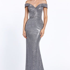Dark-Silver Off-Shoulder Prom Long Dress